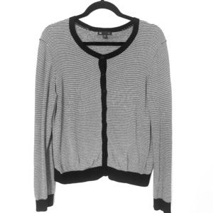 GAP striped black and white button-up cardigan